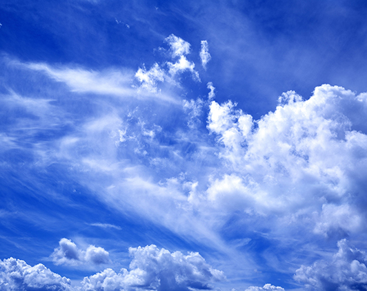 Wind, clouds, blue sky
