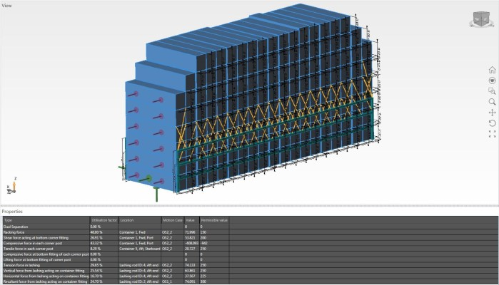 40ft container stacks in a single bay including lashings and lashing bridge