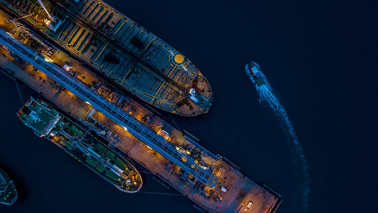 Crude oil tanker aerial view