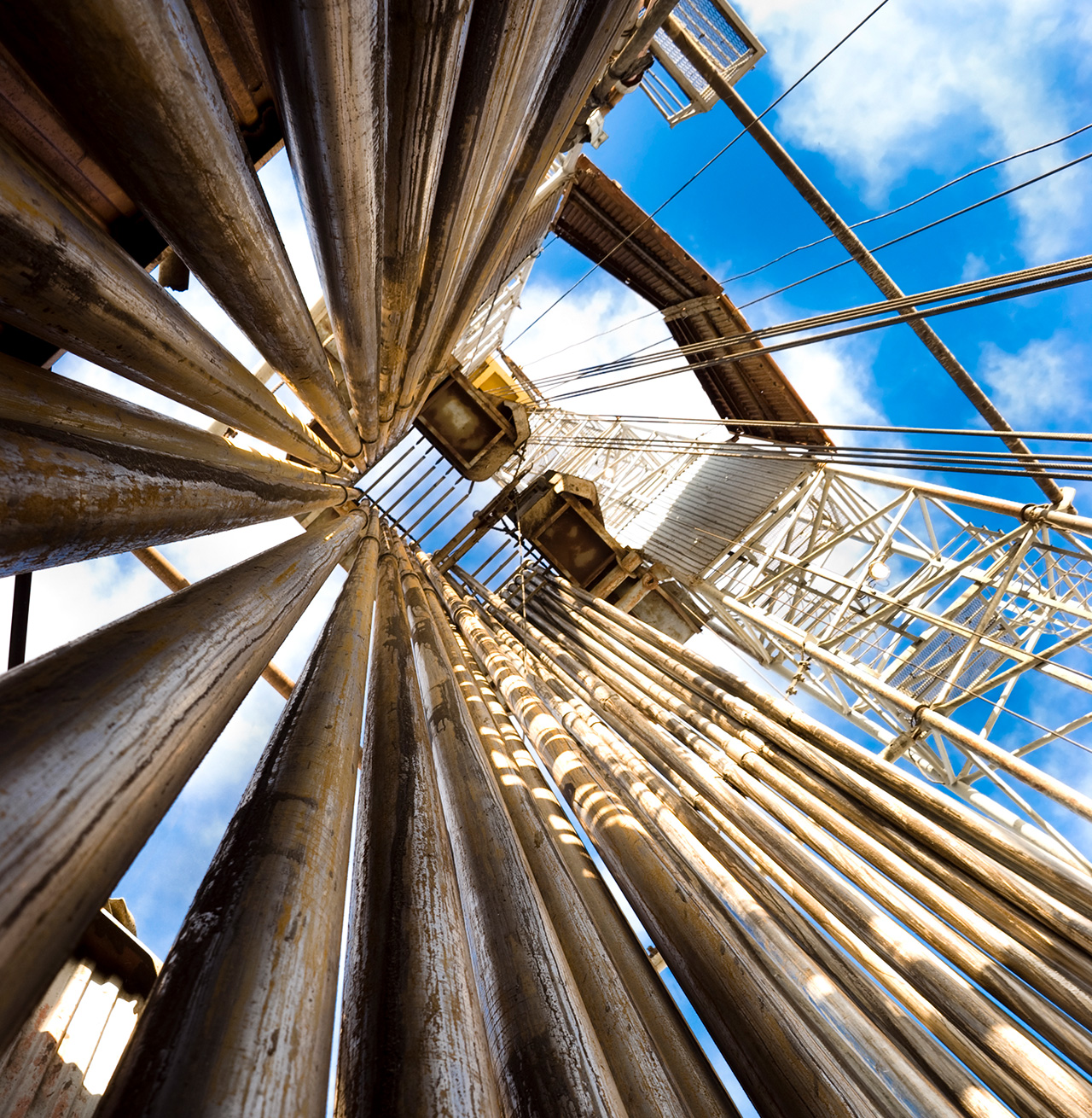 Looking up an oil rig