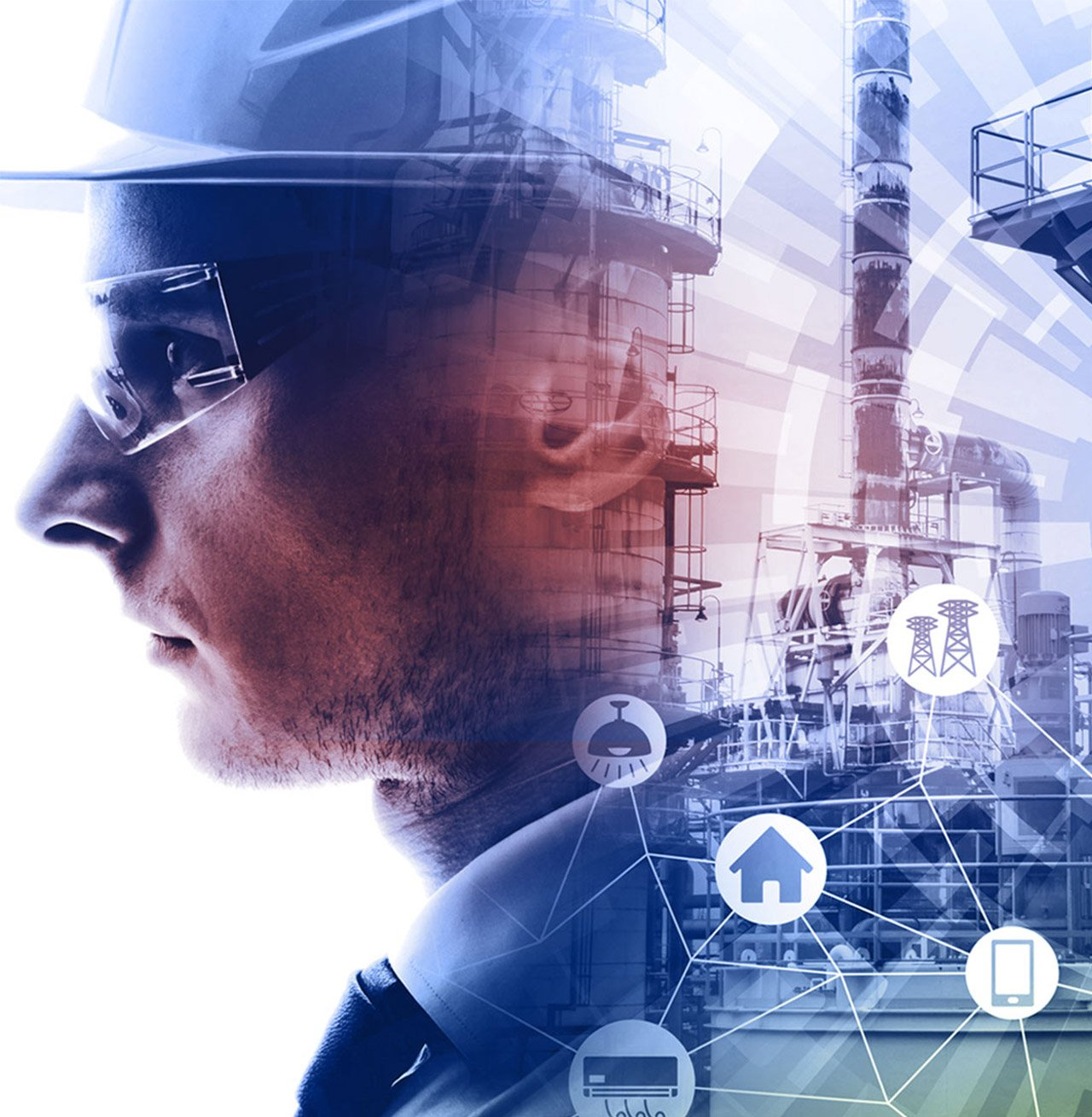 Digital montage of engineer with oil refinery and technology icons with colour overlay
