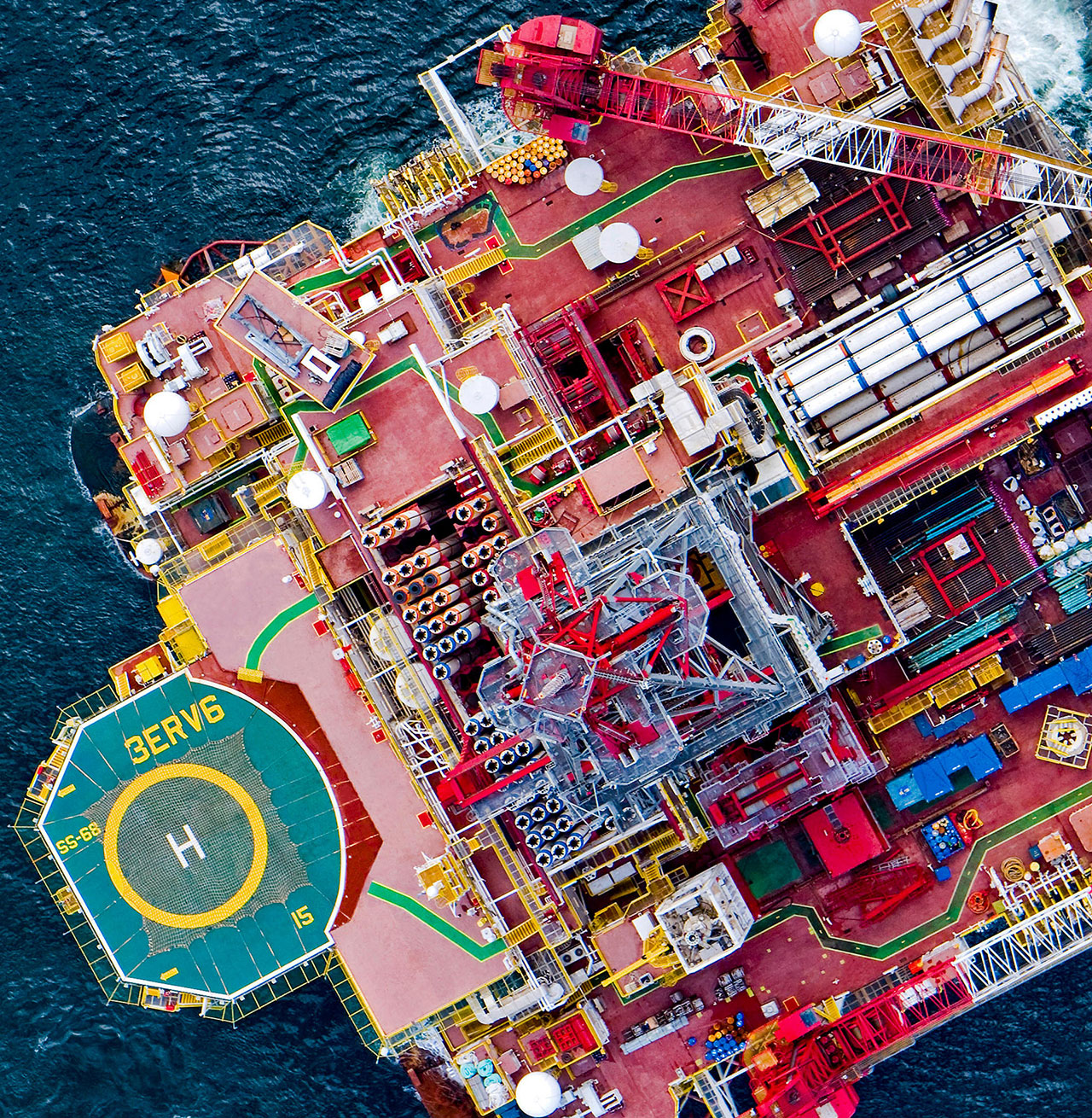 Drilling rig at sea from above