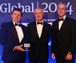 Pictured: (L-R) Paul Nichols, Lead Specialist, Passenger Ship Support Centre, Tom Boardley, LR's Marine Director and Jesus Mediavilla Varas, Lead Specialist, Strategic Research & Technology Policy Group, proudly displaying the Innovation Award.