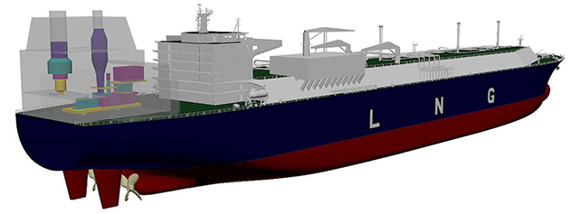 lng carrier with coges on deck