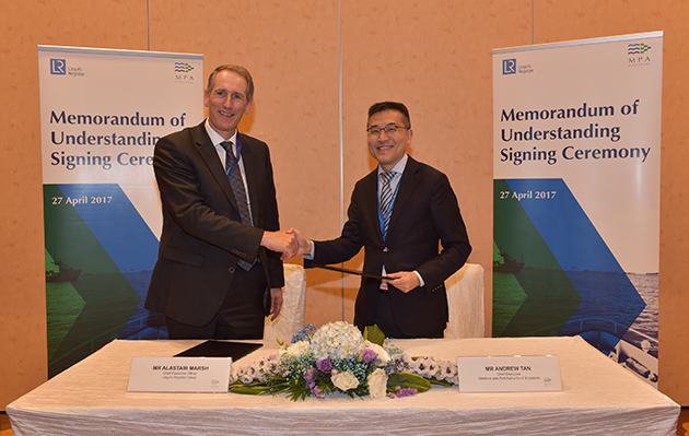 LR CEO Alastair Marsh with MPA Chief Executive Andrew Tan following signing of R&D and innovation MoU
